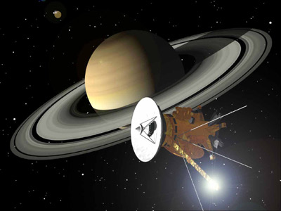 Artist's rendition of Saturn and the Cassini-Huygens probe